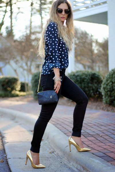 black and white dotted blouse with gold heels