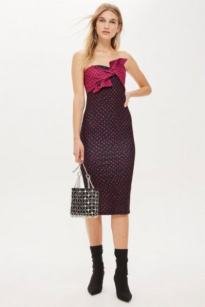 black and white polka dot midi dress with boots