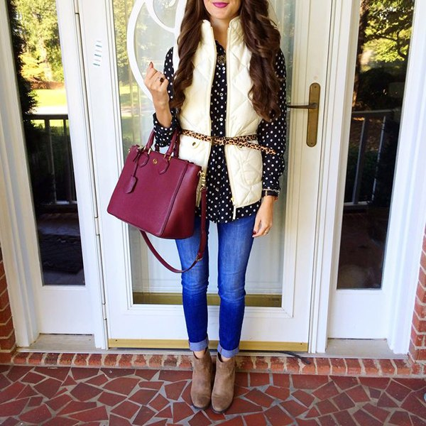 Black and white polka dot shirt with belted vest