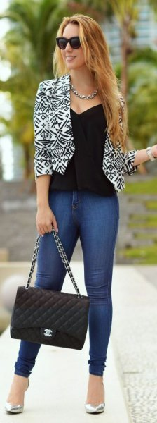 short cut black and white printed blazer with low cut waistcoat