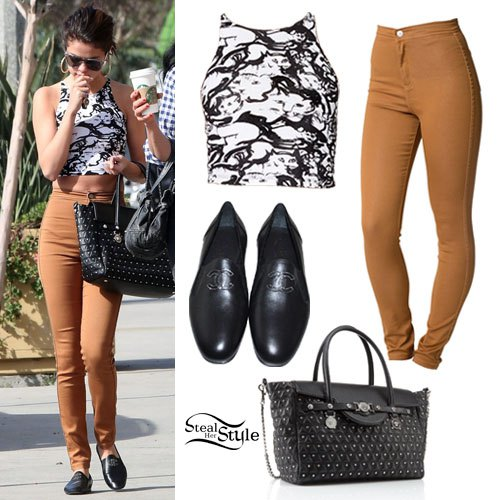 black and white printed halter crop top with light brown jeans