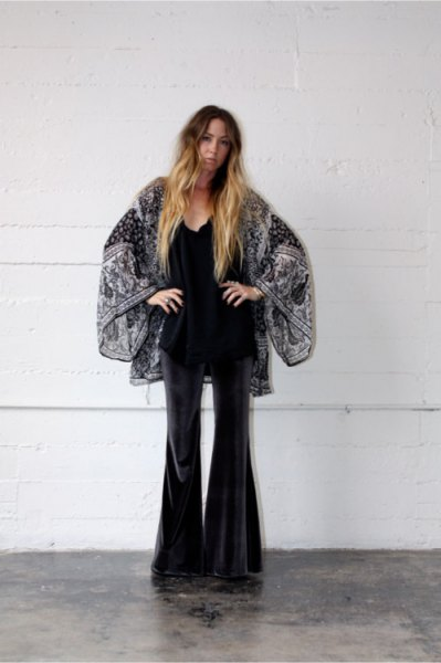 black and white printed kimono with velvety bell pants