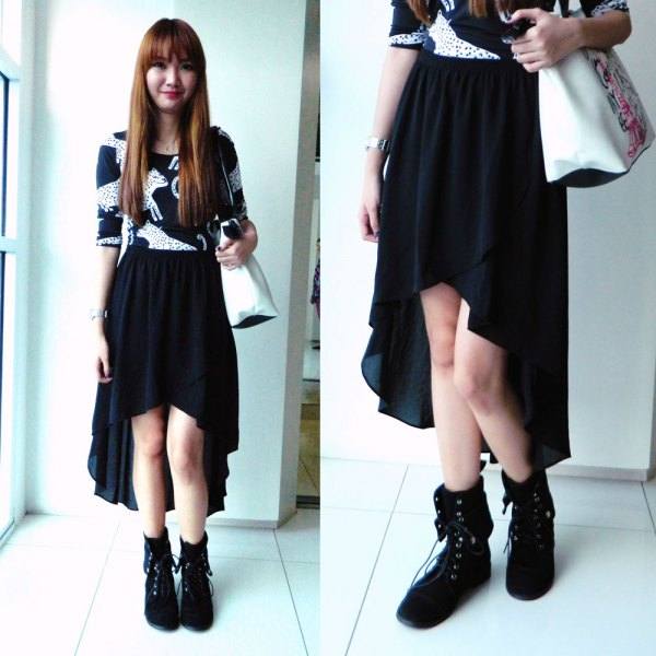 black and white printed top high low rock boots