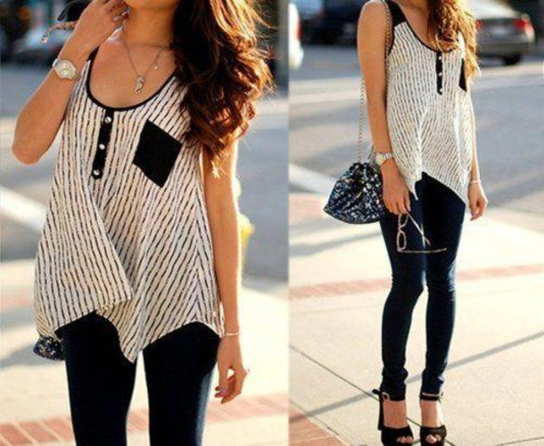 Sleeveless top with tunic in black and white and skinny jeans