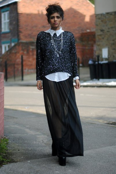 Black and white sequin sweater black transparent maxi skirt