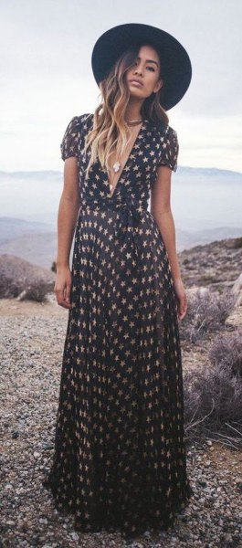 low-cut maxi dress with black and white star print