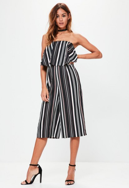 black and white striped bandeau culotte overall