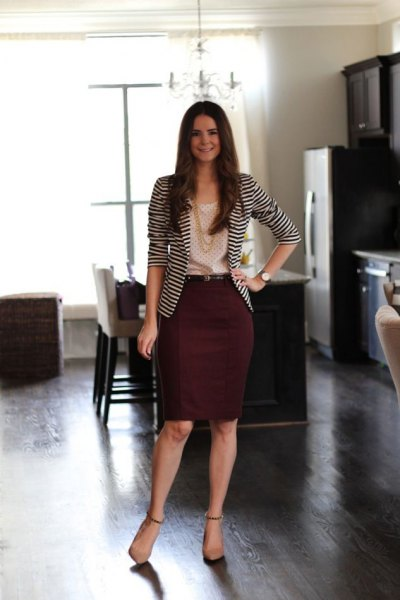black and white striped blazer with a maroon midi skirt