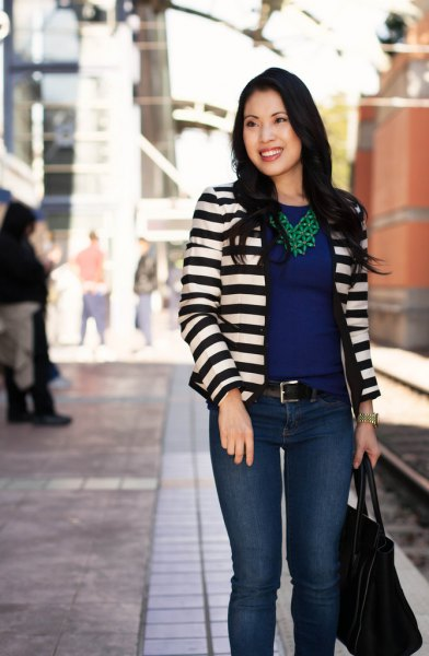 black and white striped blazer with dark blue chiffon blouse