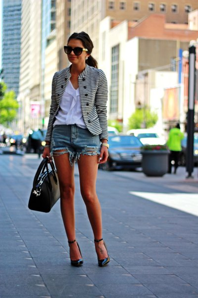 black and white striped blazer with white blouse and mini denim shorts