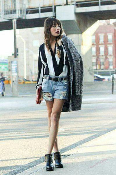 black and white striped blouse with denim shorts