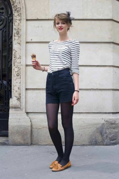 black and white striped t-shirt with boat neckline and high mini shorts
