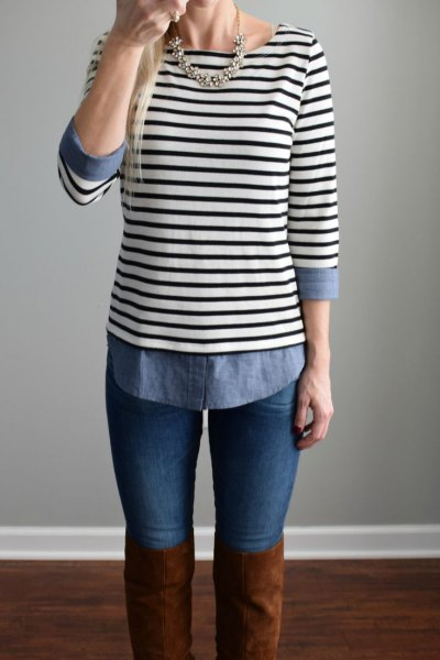 black-and-white striped top with boat neckline, chambray shirt and over-the-knee boots