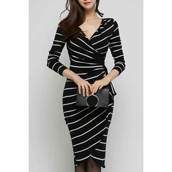 black and white striped figure-hugging midi wrap dress with wrap front