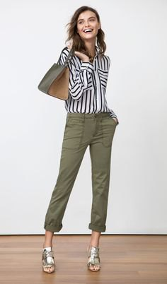 black and white striped shirt with buttons and green boyfriend jeans with cuffs