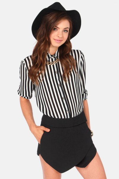 black and white striped shirt with buttons, mini skirt and felt hat