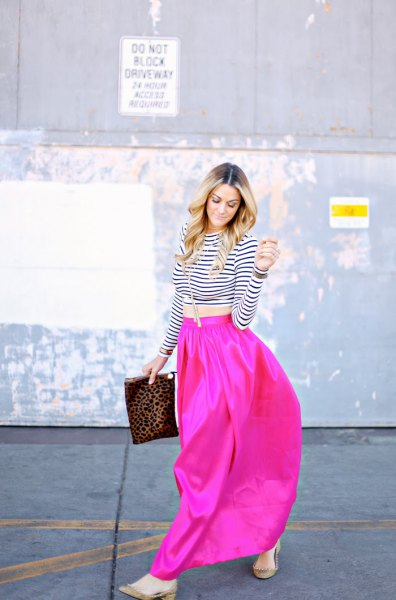 black and white striped short t-shirt with pink maxi skirt