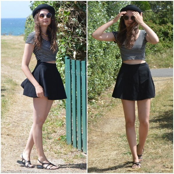 black and white striped short t-shirt with mini skirt