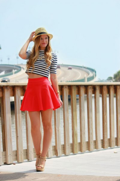 black and white striped short-sleeved short t-shirt with minirater skirt