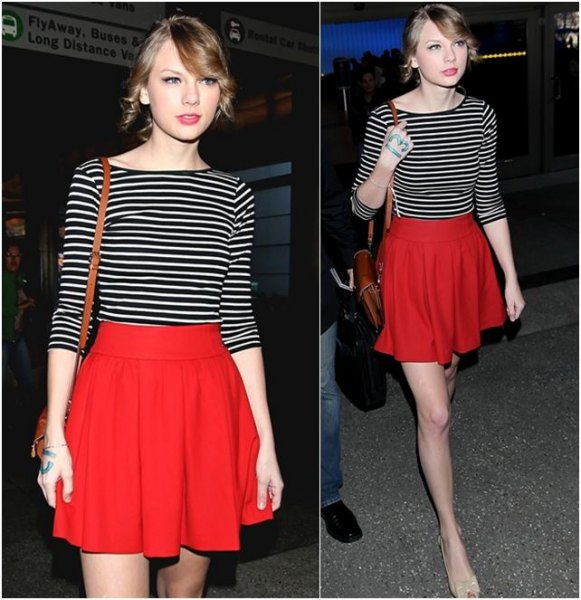black and white striped half sleeve T-shirt red flared skirt