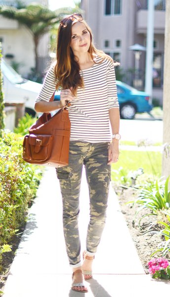 black and white striped t-shirt with half sleeves and camo pants with cuff