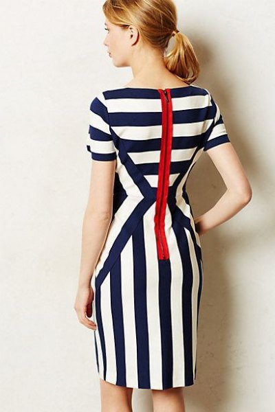 black and white striped knee-length dress with zipper at the back