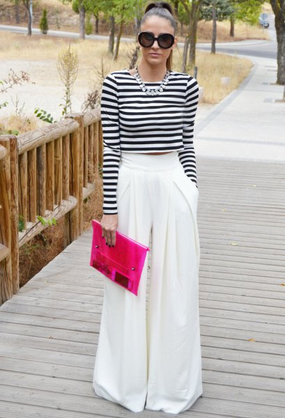 black and white striped long-sleeved short t-shirt with palazzo trousers
