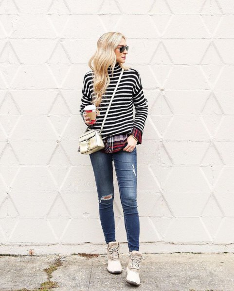 black and white striped long sleeve t-shirt with white duck boots