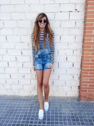 black and white striped long sleeve t-shirt denim shorts