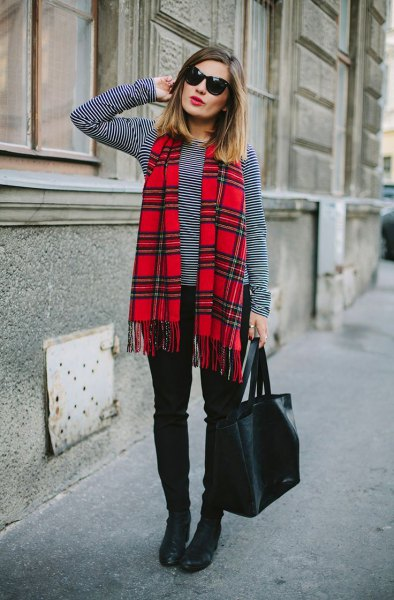 black and white striped long sleeved t-shirt red scarf