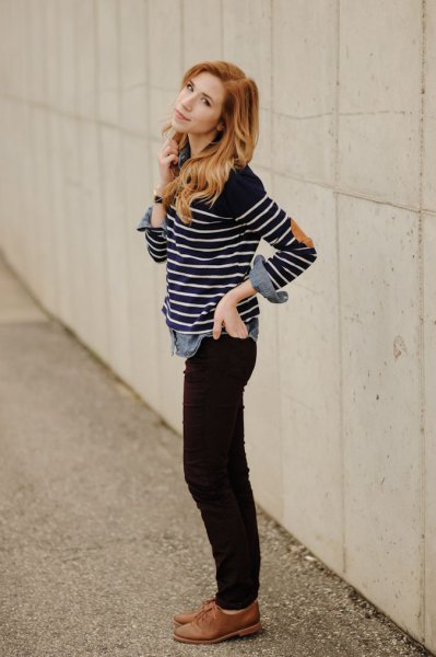 black and white striped long sleeve t-shirt with brown oxford shoes