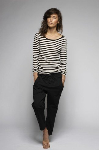 black and white striped long-sleeved T-shirt with chinos