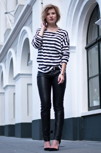 black and white striped long sleeve T-shirt with leather gaiters