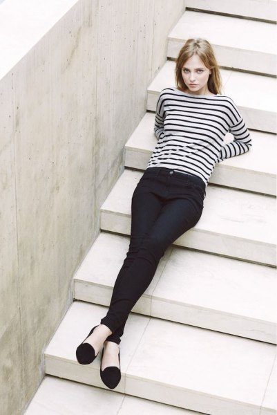 black and white striped long-sleeved top with chinos and ballerinas