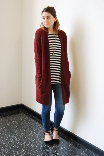 black and white striped long-sleeved tunic T-shirt with longline cardigan