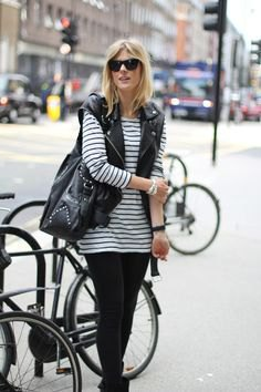 black and white striped long-sleeved tunic top with biker vest