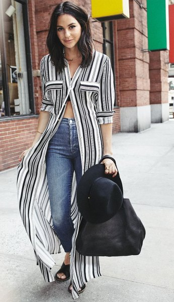 black and white striped maxi blouse with buttons and half sleeves and jeans