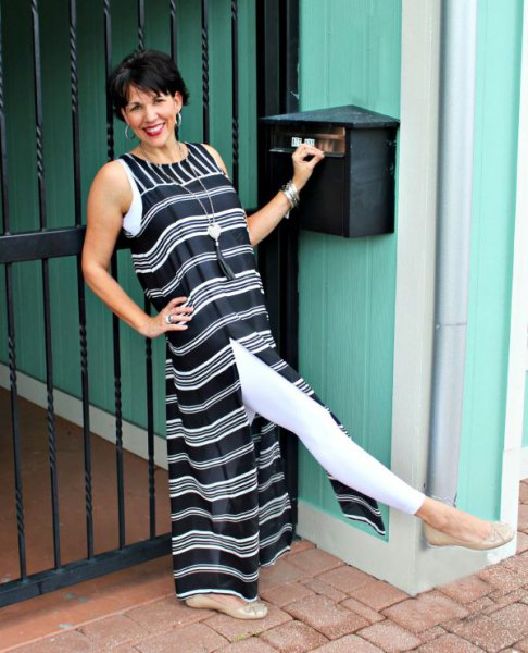black and white striped maxi high split dress with leggings