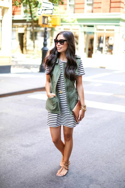 black and white striped mini dress with olive green vest