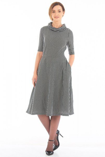 black and white striped mock neck half sleeves with fit and flared dress
