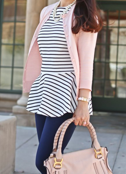 black and white striped peplum top with cardigan