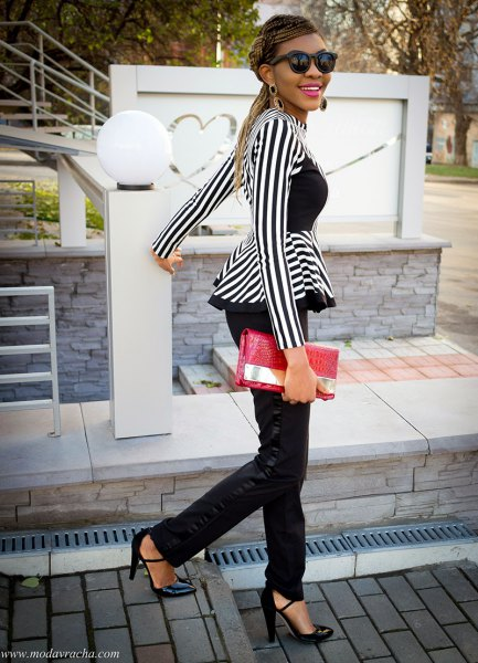 black and white striped peplum top with chinos and heels