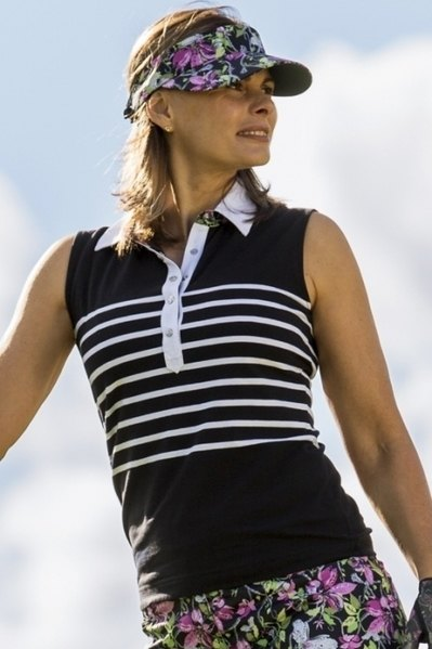 black and white striped polo shirt with floral printed mini skirt