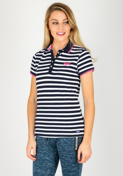 black and white striped polo shirt with dark blue leggings