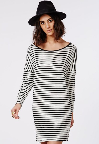 black and white striped oversized long sleeve t-shirt with scoop neck