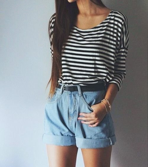 black and white striped t-shirt with scoop neckline and light blue, unwashed high-rise shorts