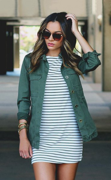 black and white striped shift minidress with gray denim jacket