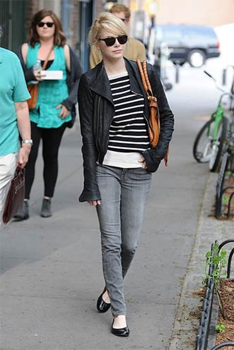 black and white striped leather sweater jacket