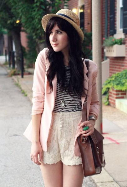 black and white striped t-shirt white blazer