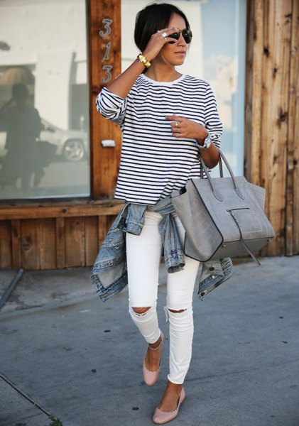 black and white striped t-shirt with denim jacket
